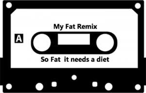 independent artist cassette tape that reads 'my fat remix, so fat it needs a diet'